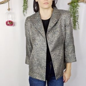 EILEEN FISHER open front jacket silk mosaic 0896